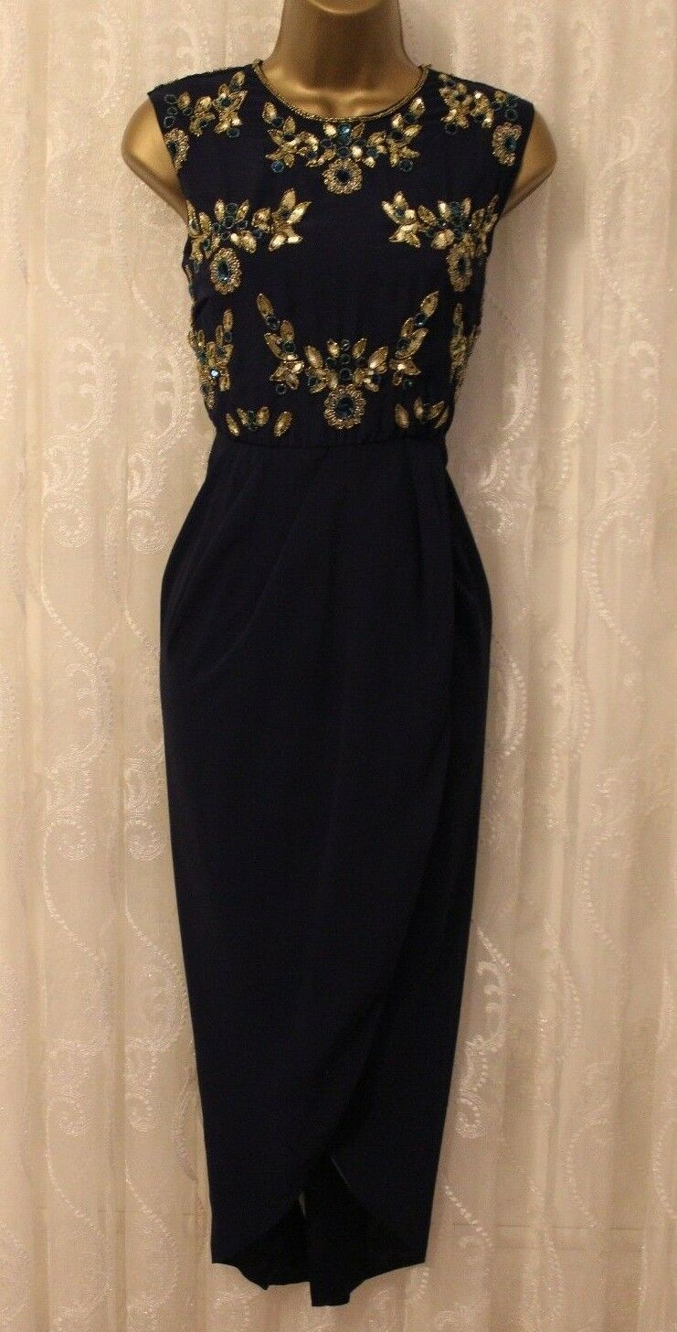 Virgos Lounge bluee gold Embellished Midi Wedding Bidesmaid Party Dress