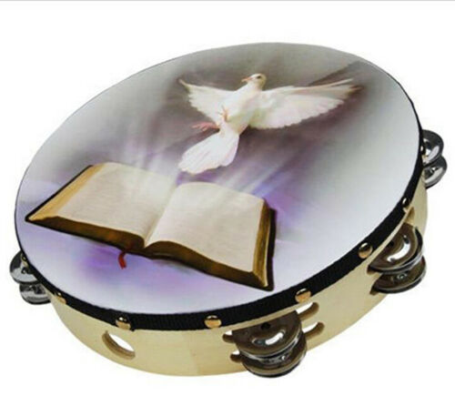 """Tambourine Row Jingle Percussion Instrument for Church 10/"""" Dove Bible Musical"""