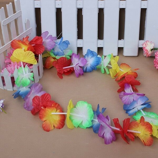 10PCS Flower Garlands Hawaiian/Tropical Party Hen Night Fancy Dress Necklace