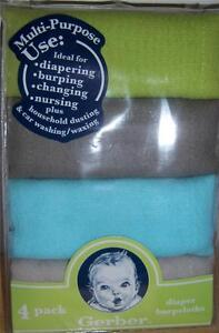 Diaper Cake New Gerber 4 pk Solid Diapers Baby Shower Burp cloth