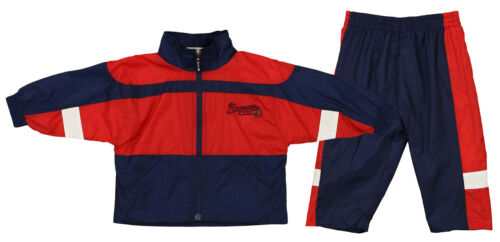 Atlanta Braves MLB Boys Girls Infant Jacket /& Pants Wind Suit Set Navy /& Red