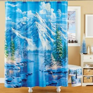 Majestic Serene Snowy Winter Lake Scene Bathroom Fabric Shower Curtain
