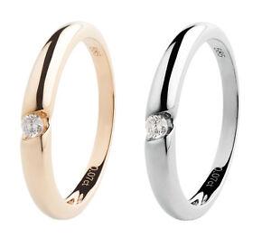 585-Gold-Ring-Solitaer-Verlobungsring-0-07-ct-Diamant-Brillant-Gelbgold-Weissgold