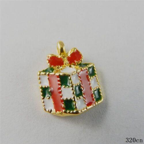 5pcs Multi-color Tone Alloy Enamel Gift Box Pendants Charms Crafts Jewelry 50806