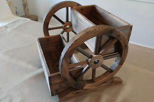 2 Tier Wooden Wagon Wheel Style Garden Planter Dual Box Real Wood W