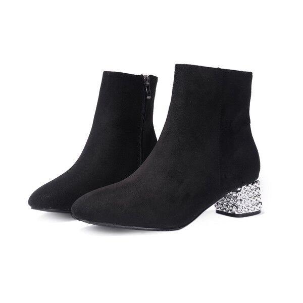 stivali stivaletti bassi  stiletto 4 cm caviglia nero comodi simil pelle 9582