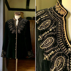 SOIREE Black Rayon Silk Beaded Embroidered Jacket Top Button Up 8