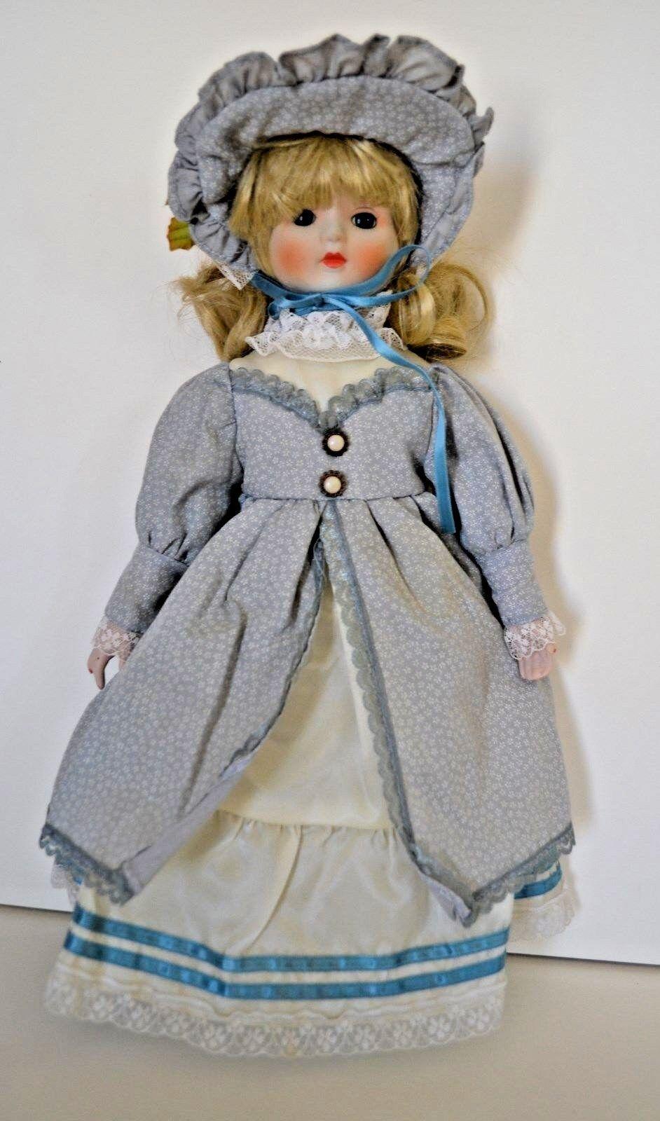 Vintage Porzellan Kopf,Hände,Füße 16 Puppe Blonde Haare, Blaue Augen