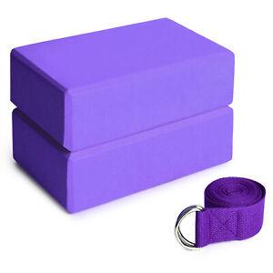 2pcs EVA Yoga Blocks 1pcs Cotton Yoga Strap Stability Blocks Yoga Strap Set
