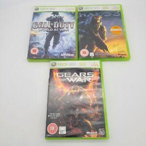 Halo 3, Gears Of War, Call Of Duty World War Xbox 360 PAL European LOT 3 GAMES