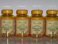 4 Bottles Super Potency Vitamin D D3 2000 Iu Immunity Supplement 800 Softgels