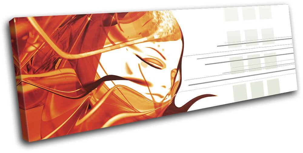 Girl Design Female Orange Gift Abstract SINGLE TOILE murale ART Photo Print