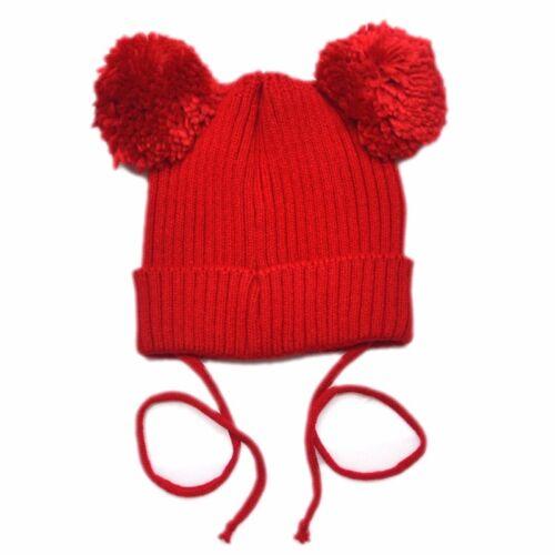 Newborn Infants Baby Girls Boys Winter Warm Knit Hat Toddler Hairball Beanie Cap