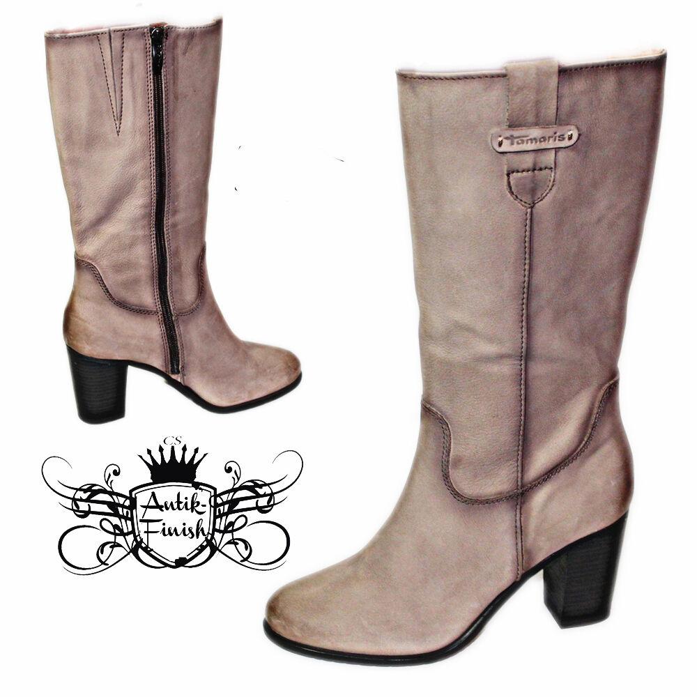 TAMARIS Echtes Leder Handschuhweich Stiefel Lederstiefel Antik Look BEQUEM 38