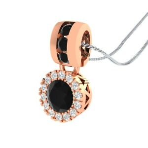 14k-Rose-Gold-GP-0-65-Ct-Round-Black-Spinel-and-Sapphire-Halo-Pendant-Necklace