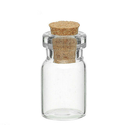 50PCs Tie Plug Tiny Glass Bottle Jewelry Vial Potion 24mm x10mm