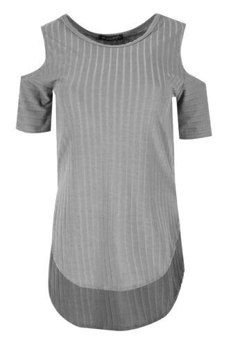 Ladies Curved Hem Womens Hi Lo Dip Hem Cold Shoulder Ribbed Party Tee Shirt Top