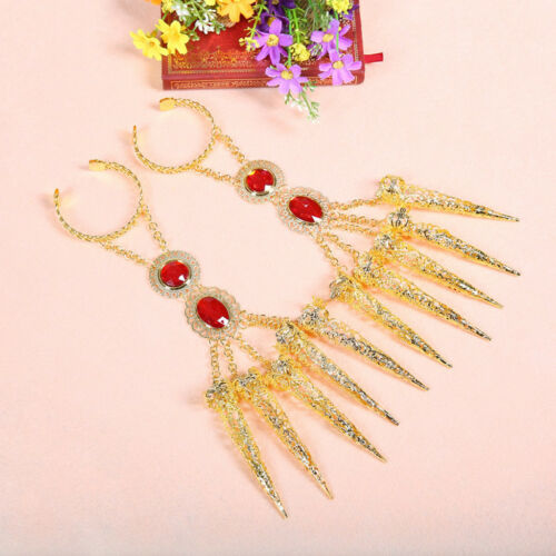 2x Indian Dance Gold Bracelet with Long Finger Nails for Costumes for Dancer