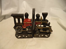 VINTAGE Cast IRON RAILROAD TRAIN ENGINE LOCOMOTIVE Bookends - Handpainted, Heavy