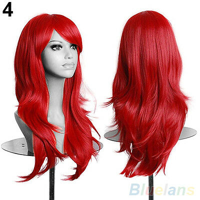 WOMENS LONG HAIR WIG CURLY WAVY SYNTHETIC ANIME COSPLAY PARTY FULL WIGS HOT SALE