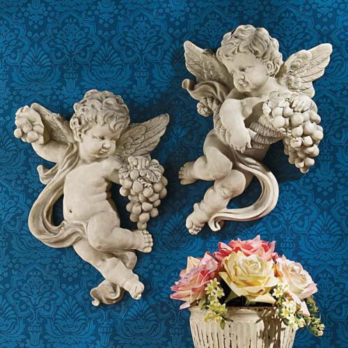 Italian Baroque Style Italian Putti Cherubs Angel Wall Sculpture Set of 2