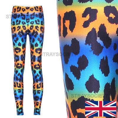 Blue /& Orange Leopard Classic Leggings 8-12 UK cat animal print stretchy cheetah