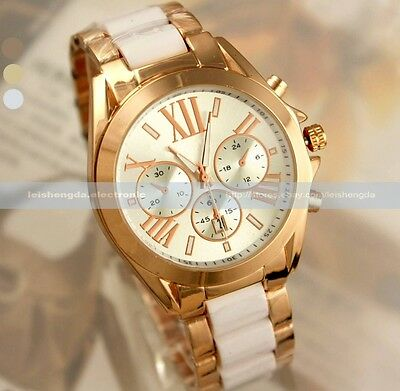 Mens Lady Women Unisex Rose Gold Crystal Rhinestone Quartz Wrist Watch Date Day