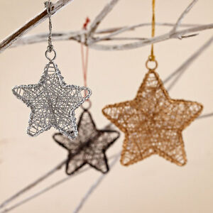 Image Is Loading Fair Trade Metallic Stars Christmas Decorations Set Of
