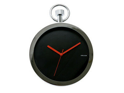 Karlsson Pocket Watch Wall Clock Designer Timepiece Chrome Black