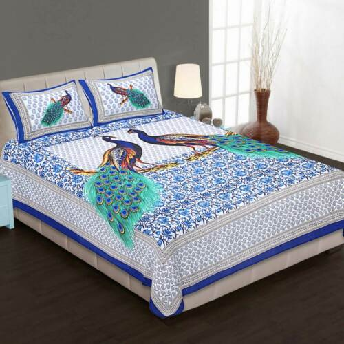 Attractive Print Pure Cotton Double Bed Sheet With 2 Pillow Cover Occasion Gift