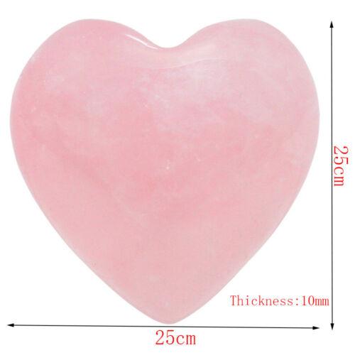 Gemstones Natural Rose Quartz Heart Shaped Pink Crystal Carved Palm Love Healing
