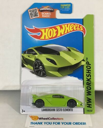 Lamborghini Sesto Elemento #198 * GREEN * 2015 Hot Wheels * NC26
