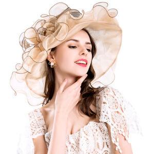 c80775e0 Elegant Women Wide Brim Kentucky Derby Church Sun Hat Wedding Tea Party Cap  Hat