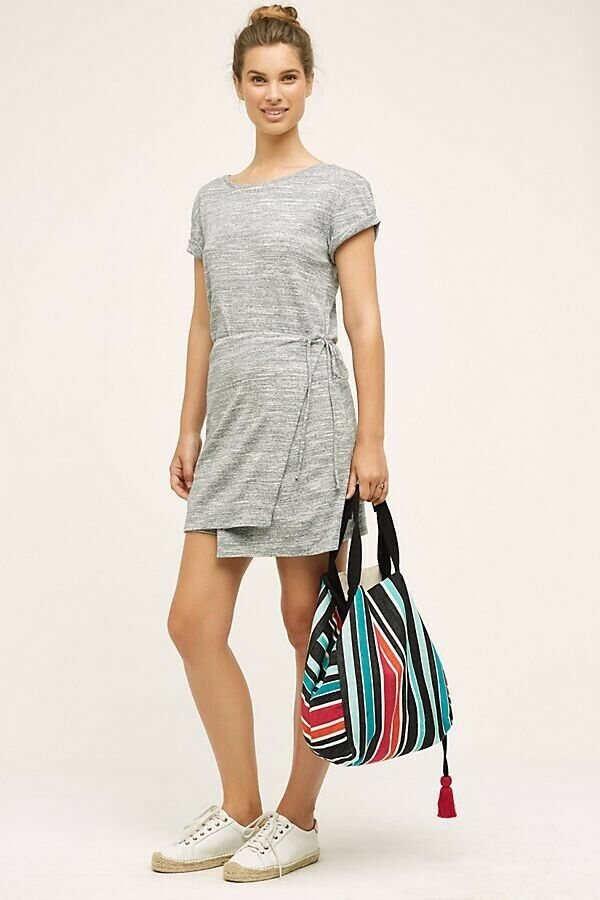 NEW ANTHROPOLOGIE Sz S WRAPPED TEE SHIRT MARLED DRESS BY MAEVE