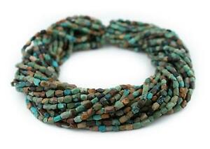 Faceted-Dark-Turquoise-Stone-Beads-6x4mm-Afghanistan-Green-Gemstone