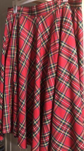 Bernie Dexter Red Plaid Full Swing Pinup Skirt XL