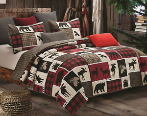 LODGE-LIFE-Full-Queen-QUILT-SET-BLACK-BEAR-PAW-MOOSE-CABIN-RED-BUFFALO-CHECK