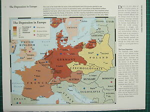 WW2 WWII MAP ~ DEPRESSION IN EUROPE UNEMPLOYED INDUSTRIAL WORKERS ...