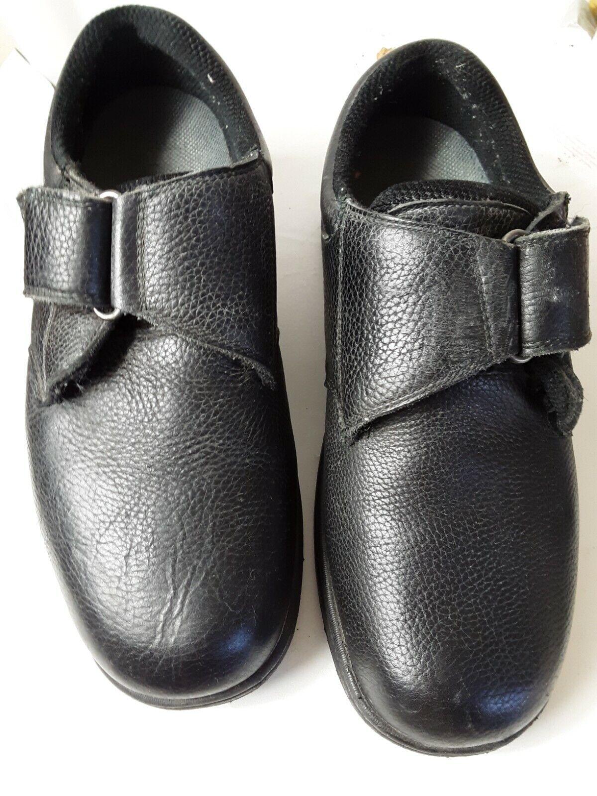 Orthofeet 510 Broadway Mens 12 B NARROW Black Leather Hook Loop Shoes Orthopedic
