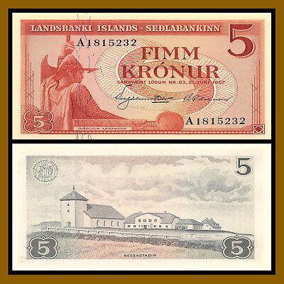 Iceland Paper Money 5 Kronur 1957 UNC