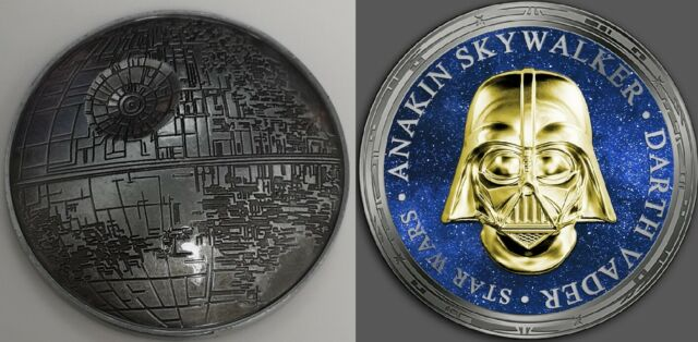 3D Death Star Wars Gold Silver Coin Darth Vader Mask The Rise of Sky walker USA