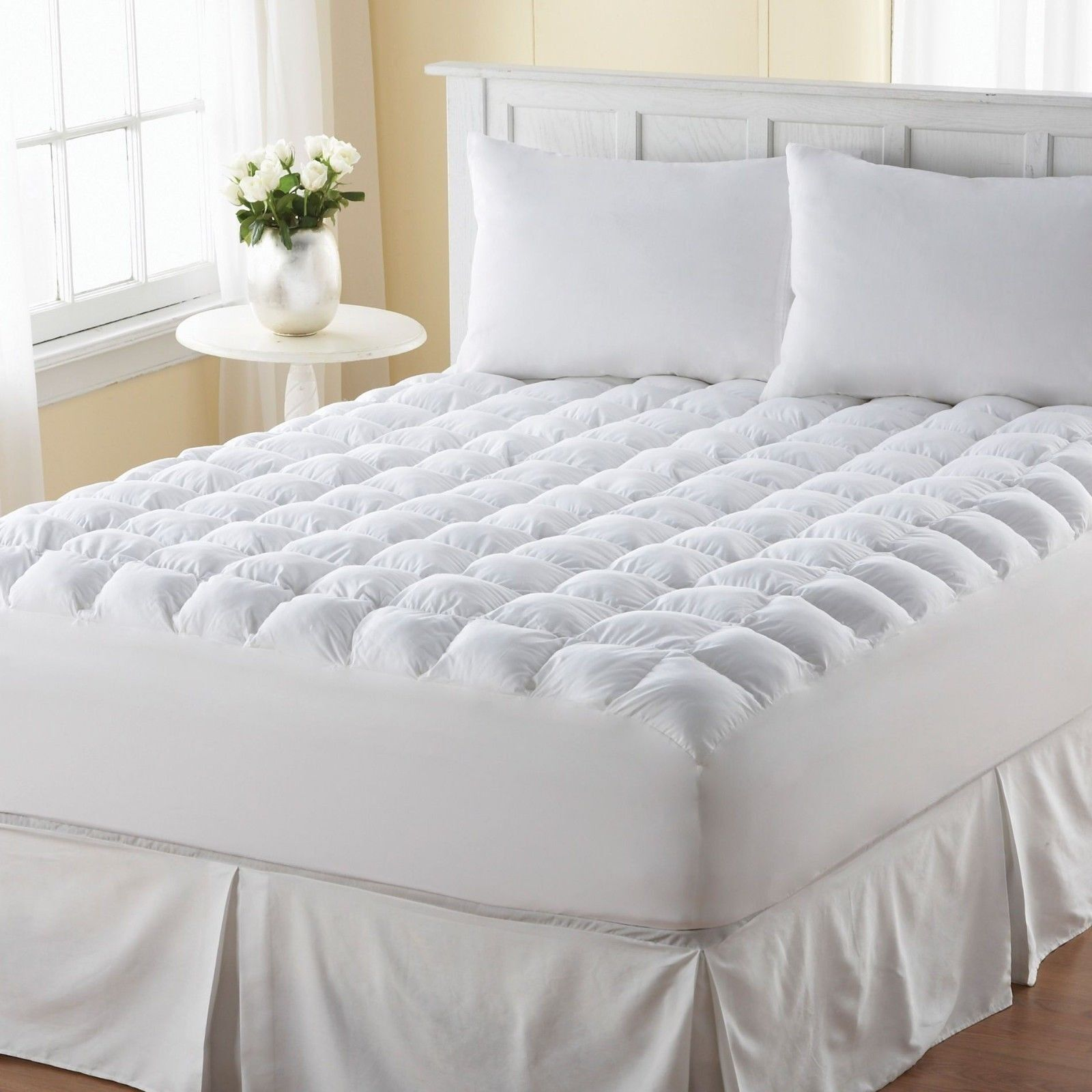 pillow top mattress topper king size pad cover protector cotton bedding bedroom. Black Bedroom Furniture Sets. Home Design Ideas