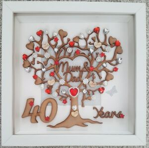 Image is loading Personalised-handmade-40th-Ruby-wedding-anniversary-gift -frame-