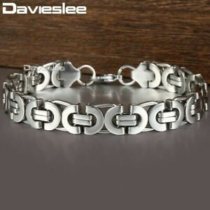 11mm-Stainless-Steel-Bracelet-Mens-Silver-Tone-Flat-Byzantine-Link-Chain-Bangle