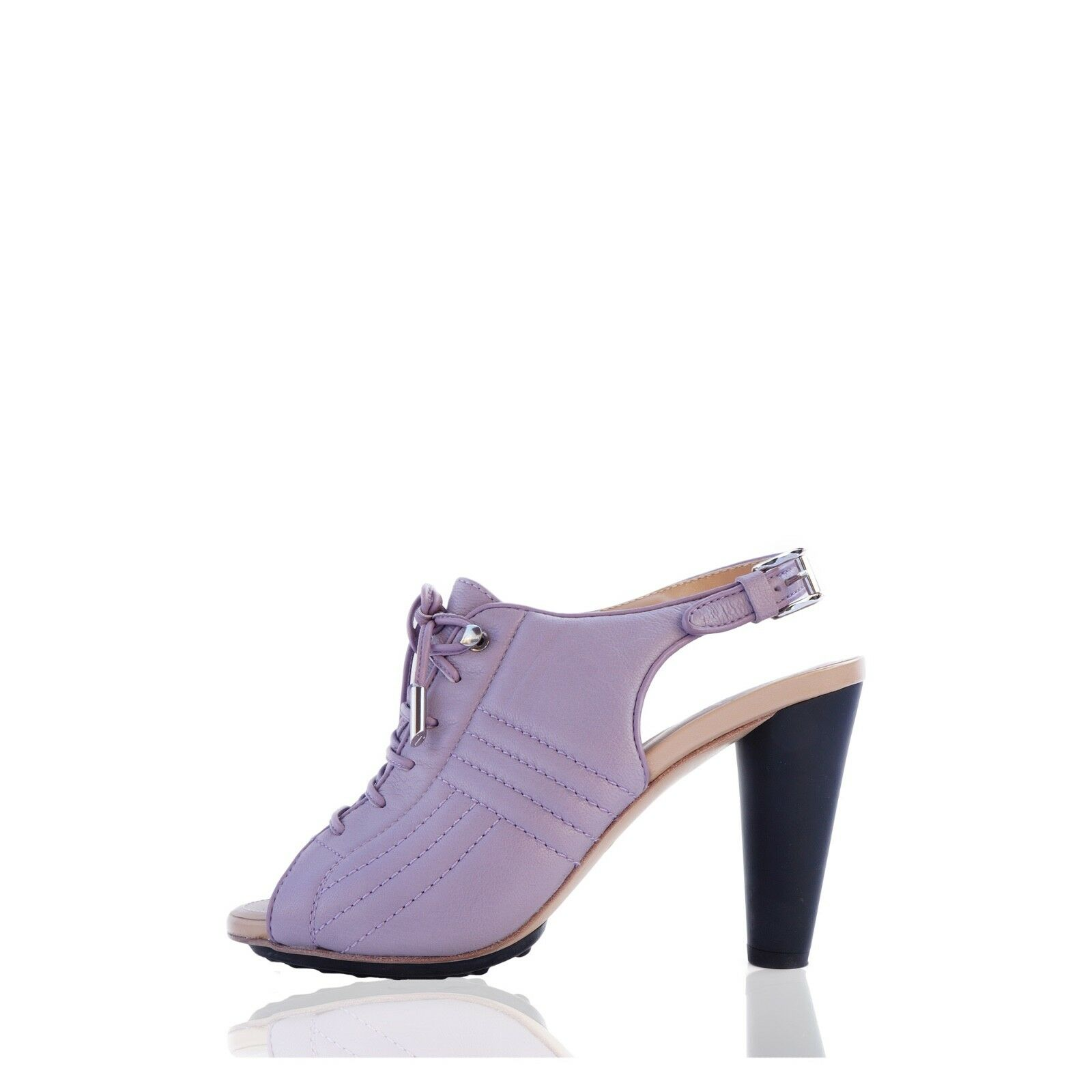 TOD'S QUILTED purpleC LACE-UP SANDALS