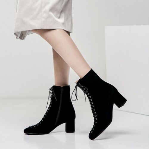 Ladies Shoes Genuine Leather Mid Block Heel Zip Lace Up Ankle Boots UK Size b280