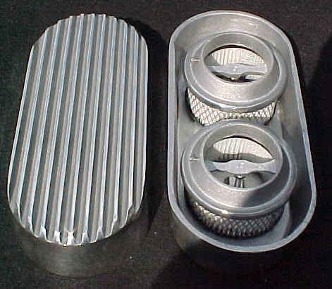 HOT ROD RAT FLATHEAD FINNED DUAL CARB AIR CLEANER  with bases and filters