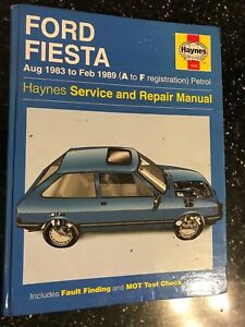 FORD FIESTA MK2 MKII HAYNES WORKSHOP MANUAL PETROL VAN XR2 1983-1989 A-F
