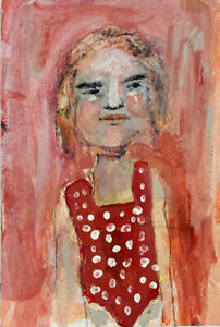 Original-Outsider-Art-Painting-Swim-Meet-Girl-Red-Bathing-Suit-Katie-Jeanne-Wood