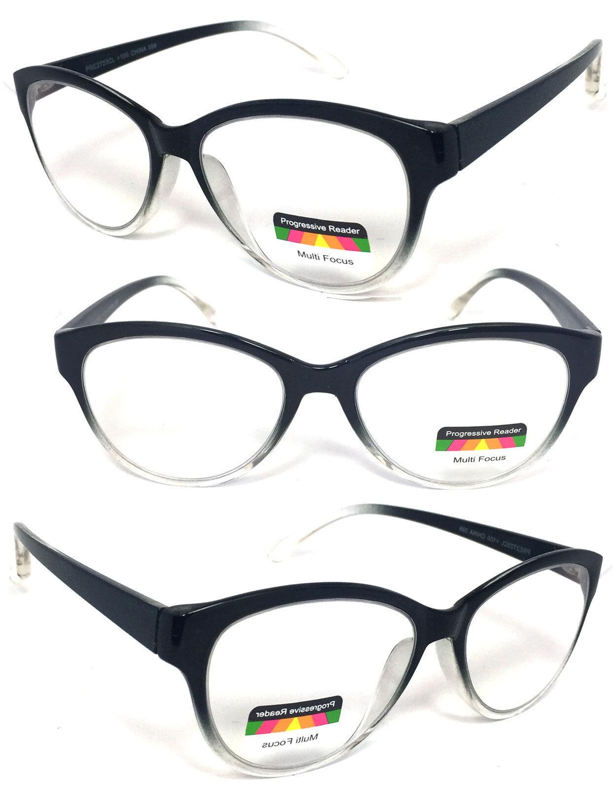 2bcec7646ec Details about Cat Eye Multi Focus +Reading Glasses Clear Lens 3 Strengths  in 1 Reader